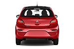 Straight rear view of 2019 Mitsubishi Space-Star Black-Collection 5 Door Hatchback Rear View  stock images