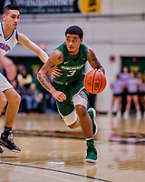 19 January 2019: Binghamton University Bearcat Guard Sam Sessoms, a Freshman from Philadelphia, PA, in second half Men's Basketball action against the University of Vermont Catamounts at Patrick Gymnasium in Burlington, Vermont. Sessoms scored a team-high 19 points on 7-of-15 shooting as the Bearcats fell to the Catamounts 78-50 in America East conference play. Mandatory Credit: Ed Wolfstein Photo *** RAW (NEF) Image File Available ***