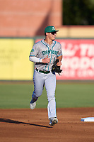 Daytona Tortugas outfielder Austin Hendrick (1) jogs to the dugout during a game against the Palm Beach Cardinals on May 4, 2021 at Roger Dean Chevrolet Stadium in Jupiter, Florida.  (Mike Janes/Four Seam Images)