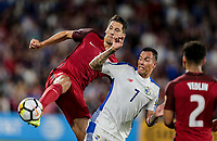 Orlando, FL - Friday Oct. 06, 2017: Omar Gonzalez, Blas Pérez during a 2018 FIFA World Cup Qualifier between the men's national teams of the United States (USA) and Panama (PAN) at Orlando City Stadium.