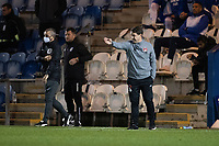 Ross Embleton, Manager, Leyton Orient  offers instruction from the technical area during Colchester United vs Leyton Orient, Sky Bet EFL League 2 Football at the JobServe Community Stadium on 14th November 2020