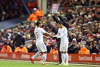 Wayne Routledge is substituted for Jefferson Montero during the Barclays Premier League Match between Liverpool and Swansea City played at Anfield, Liverpool on 29th November 2015