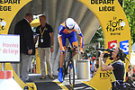Robert Gesink (NED) Rabobank powers down the start ramp during the Prologue of the 99th edition of the Tour de France 2012, a 6.4km individual time trial starting in Parc d'Avroy, Liege, Belgium. 30th June 2012.<br /> (Photo by Eoin Clarke/NEWSFILE)