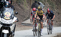 Race leader Wout van Aert (BEL/Jumbo-Visma) fighting Matteo Trentin (ITA/UAE-Emirates) & (eventual winner) Tom Pidcock (GBR/Ineos Grenadiers) during the 4th & final ascent up the brutal Moskesstraat<br /> <br /> 61st Brabantse Pijl 2021 (1.Pro)<br /> 1 day race from Leuven to Overijse (BEL/202km)<br /> <br /> ©kramon