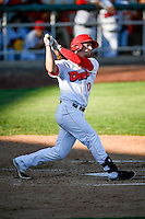 Alex Abbott (10) of the Orem Owlz at bat against the Grand Junction Rockies in Pioneer League action at Home of the Owlz on July 6, 2016 in Orem, Utah. The Owlz defeated the Rockies 9-1 in Game 1 of the double header.  (Stephen Smith/Four Seam Images)