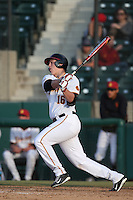 Joe Corrigan (16) of the Southern California Trojans bats during a game against the Oakland Grizzlies at Dedeaux Field on February 21, 2015 in Los Angeles, California. Southern California defeated Oakland, 11-1. (Larry Goren/Four Seam Images)