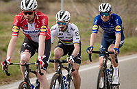 World Champion Julian Alaphilippe (FRA/Deceuninck - QuickStep) surrounded by teammates in the front of the peloton<br /> <br /> Stage 2 from Camaiore to Chiusdino (202km)<br /> <br /> 56th Tirreno-Adriatico 2021 (2.UWT) <br /> <br /> ©kramon