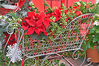Basket of Christmas decorations. Al's Nursery. Woodburn. Oregon