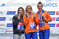 VAN ROUWENDAALSharon NED Gold Medal<br /> GABRIELLESCHIGiulia ITA Silver Medal<br /> VERMEULENEsmee NED Bronze Medal<br /> 10km Women<br /> Glasgow 09/08/2018<br /> Open Water Swimming <br /> Loch Lomond and The Trossachs National Park <br /> LEN European Aquatics Championships 2018 <br /> European Championships 2018 <br /> Photo Andrea Staccioli /Deepbluemedia /Insidefoto