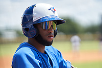 FCL Blue Jays Hugo Cardona (26) on deck during a game against the FCL Yankees on June 29, 2021 at the Yankees Minor League Complex in Tampa, Florida.  (Mike Janes/Four Seam Images)