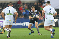 Dan Biggar of Ospreys receives the ball during the Champions Cup Round 1 match between Ospreys and Clermont at The Liberty Stadium, Swansea, Wales, UK. Sunday 15 October 2017