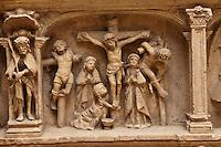 Europe/Europe/France/Midi-Pyrénées/46/Lot/Carennac:<br />  Bas relief representant des scènes de la vie et de la Passion du Christ: la Crucifixion