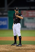 Batavia Muckdogs pitcher Evan Brabrand (41) during a NY-Penn League game against the Lowell Spinners on July 10, 2019 at Dwyer Stadium in Batavia, New York.  Batavia defeated Lowell 8-6.  (Mike Janes/Four Seam Images)
