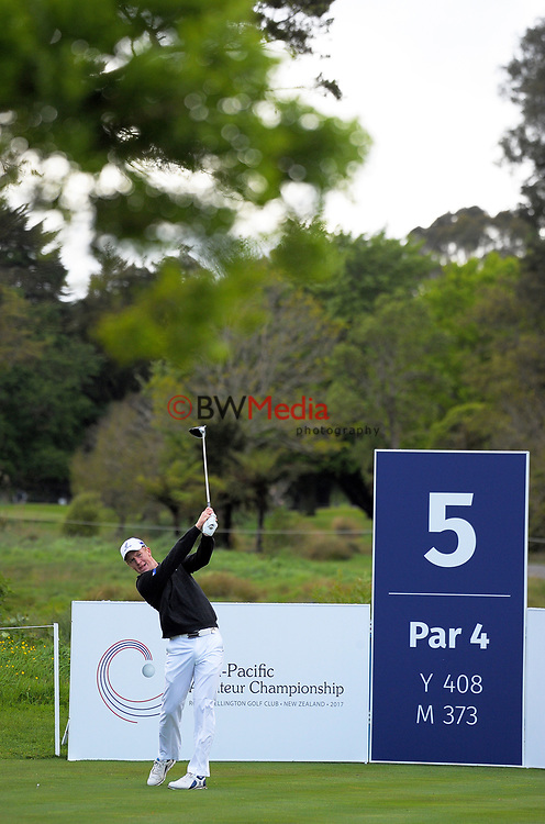 James Anstiss (NZ) tees off at the 5th on day one of the 2017 Asia-Pacific Amateur Championship day one at Royal Wellington Golf Club in Wellington, New Zealand on Thursday, 26 October 2017. Photo: Dave Lintott / lintottphoto.co.nz