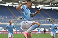 Joaquin Correa of SS Lazio celebrats after scoring the goal of 1-0 during the Serie A football match between SS Lazio and Genoa CFC at Olimpico Stadium in Roma (Italy), May 2th, 2021. Photo Antonietta Baldassarre / Insidefoto