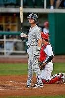 Taylor Snyder (4) of the Grand Junction Rockies at bat against the Orem Owlz in Pioneer League action at Home of the Owlz on July 6, 2016 in Orem, Utah. The Rockies defeated the Owlz 5-4 in Game 2 of the double header.  (Stephen Smith/Four Seam Images)