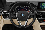 Car pictures of steering wheel view of a 2018 BMW 5 Series 530i 4 Door Sedan