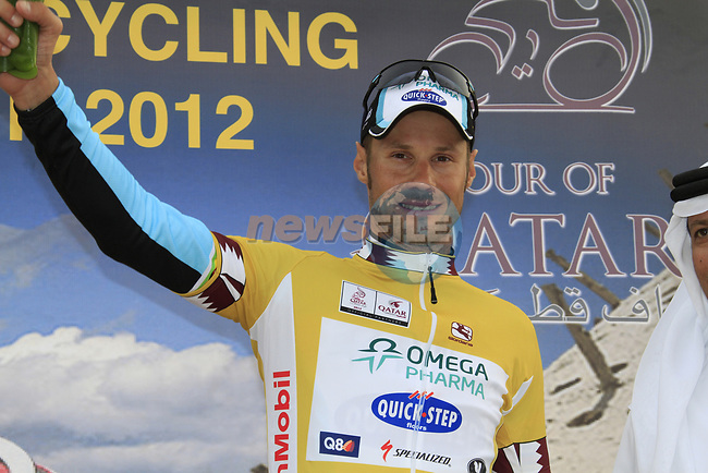 Tom Boonen (BEL) Omega Pharma-Quick Step retains the leaders jersey at the end of Stage 3 of the 2012 Tour of Qatar running 146.5km from Dukhan Souq, Dukhan to Al Gharafa, Qatar. 7th February 2012.<br /> (Photo Eoin Clarke/Newsfile)