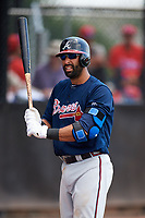 Atlanta Braves third baseman Jose Bautista (1) warms up before the top of the third inning during a Minor League Extended Spring Training game against the Philadelphia Phillies on April 20, 2018 at Carpenter Complex in Clearwater, Florida.  (Mike Janes/Four Seam Images)