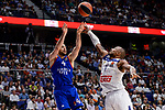 Real Madrid's Dontaye Draper and Anadolu Efes's Dogus Balbay during Turkish Airlines Euroleague match between Real Madrid and Anadolu Efes at Wizink Center in Madrid, April 07, 2017. Spain.<br /> (ALTERPHOTOS/BorjaB.Hojas)
