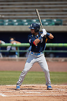Reivaj Gacia (1) of the Myrtle Beach Pelicans at bat against the Lynchburg Hillcats at Bank of the James Stadium on May 23, 2021 in Lynchburg, Virginia. (Brian Westerholt/Four Seam Images)