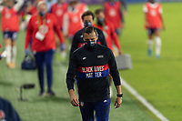 ORLANDO, FL - JANUARY 22: Head coach Vlatko Andonovski exits the field at half during a game between Colombia and USWNT at Exploria stadium on January 22, 2021 in Orlando, Florida.