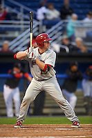 Auburn Doubledays catcher Jakson Reetz (25) at bat during a game against the Batavia Muckdogs on July 8, 2015 at Dwyer Stadium in Batavia, New York.  Batavia defeated Auburn 4-1.  (Mike Janes/Four Seam Images)