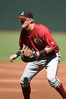 Arizona Diamondbacks first baseman Kevin Cron (50) during an Instructional League game against the Oakland Athletics on October 10, 2014 at Chase Field in Phoenix, Arizona.  (Mike Janes/Four Seam Images)