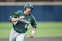 Michigan State Spartans second baseman Dan Durkin (9) runs to third base against the Michigan Wolverines on May 19, 2017 at Ray Fisher Stadium in Ann Arbor, Michigan. Michigan defeated Michigan State 11-6. (Andrew Woolley/Four Seam Images)