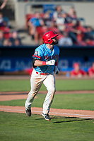 Spokane Indians left fielder Tanner Gardner (44) runs down the first base line during a Northwest League game against the Vancouver Canadians at Avista Stadium on September 2, 2018 in Spokane, Washington. The Spokane Indians defeated the Vancouver Canadians by a score of 3-1. (Zachary Lucy/Four Seam Images)