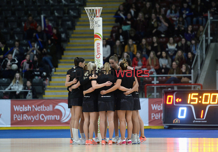 New Zealand have a team talk during the pre-match warm-up  <br /> <br /> Swansea University International Netball Test Series: Wales v New Zealand<br /> Ice Arena Wales<br /> 08.02.17<br /> ©Ian Cook - Sportingwales