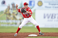 Batavia Muckdogs second baseman Brian Anderson (8) turns a double play during a game against the State College Spikes on July 3, 2014 at Dwyer Stadium in Batavia, New York.  State College defeated Batavia 7-1.  (Mike Janes/Four Seam Images)