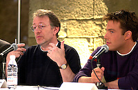 Montreal,April 9, 2001<br /> Film maker Phil Alden Robinson (left) and<br /> American actor Ben Affleck speaks at a press conference for the movie `` Sum of all fears ``, currentlly beeing shot in Montreal, CAnada<br /> <br /> Affleck plays CIA analyst Jack Ryan in the 4th movie  based on a Tom Clancy's novel and produced by Mace Neufeld.<br /> <br /> <br /> NOTE :  color corrected D-1 file, saved asAdobe 1998 RBG Color space