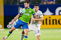 CARSON, CA - SEPTEMBER 27: Nicholas DePuy #20 of the Los Angeles Galaxy and Will Bruin #17 of the Seattle Sounders battle for a ball in the air during a game between Seattle Sounders FC and Los Angeles Galaxy at Dignity Heath Sports Park on September 27, 2020 in Carson, California.