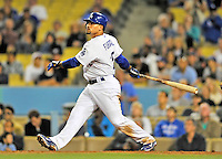 23 July 2011: Los Angeles Dodgers infielder Rafael Furcal hits a game-winning, walk-off double in the bottom of the 9th inning of a game against the Washington Nationals at Dodger Stadium in Los Angeles, California. The Dodgers rallied to defeat the Nationals 7-6. Mandatory Credit: Ed Wolfstein Photo
