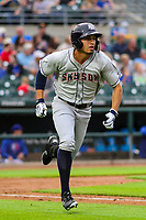 Colorado Springs Sky Sox outfielder Tyrone Taylor (15) runs to first base during a Pacific Coast League game against the Iowa Cubs on June 22, 2018 at Principal Park in Des Moines, Iowa. Iowa defeated Colorado Springs 4-3. (Brad Krause/Four Seam Images)