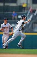 Scranton/Wilkes-Barre RailRiders shortstop Nick Noonan (21) chases Daric Barton (not pictured) in a run down during a game against the Buffalo Bisons on June 10, 2015 at Coca-Cola Field in Buffalo, New York.  Scranton/Wilkes-Barre defeated Buffalo 7-2.  (Mike Janes/Four Seam Images)