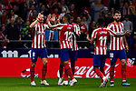 Saul Niguez (L) and Renan Lodi (R) celebrate goal of Atletico de Madrid during the La Liga match between Atletico de Madrid and Athletic Club de Bilbao at Wanda Metropolitano Stadium in Madrid, Spain. October 26, 2019. (ALTERPHOTOS/A. Perez Meca)