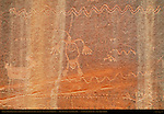 Shaman or Chief Struck by Lightning, Pronghorn Antelope and Snakes, Eye of the Sun Petroglyph Wall, Monument Valley Navajo Tribal Park, Navajo Nation Reservation, Utah/Arizona Border
