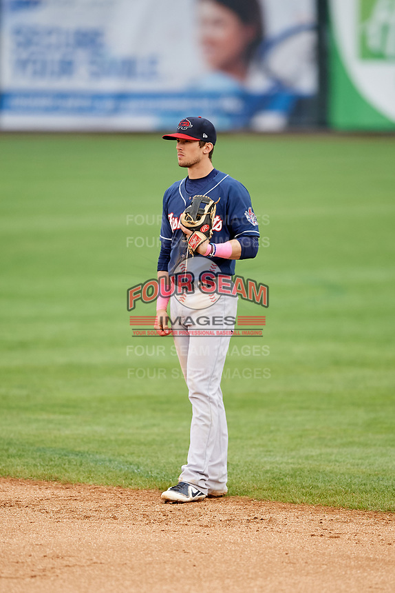 New Hampshire Fisher Cats second baseman Cavan Biggio (6) during the second game of a doubleheader against the Harrisburg Senators on May 13, 2018 at FNB Field in Harrisburg, Pennsylvania.  Harrisburg defeated New Hampshire 2-1.  (Mike Janes/Four Seam Images)
