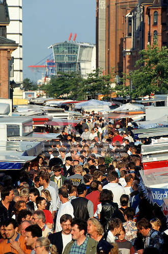 Hamburg, Germany. Crowds of people at the Fish Market from above.