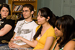 Education High School Public senior students talking in English class horizontal