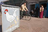 Afrique/Afrique du Nord/Maroc/Rabat: dans la médina - enseigne d'un marchand de poules