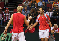 14-sept.-2013,Netherlands, Groningen,  Martini Plaza, Tennis, DavisCup Netherlands-Austria, Doubles,   Oliver Marach(L) and Philipp Oswald(AUT)<br /> Photo: Henk Koster