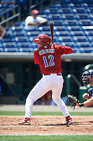 Clearwater Threshers first baseman Zach Green (12) at bat during a game against the Charlotte Stone Crabs on April 13, 2016 at Bright House Field in Clearwater, Florida.  Charlotte defeated Clearwater 1-0.  (Mike Janes/Four Seam Images)