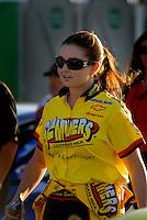 Apr 7, 2006; Las Vegas, NV, USA; NHRA Pro Stock racer Erica Enders prior to qualifying her Slammers Ultimate Milk Chevrolet Cobalt at the Summitracing.com Nationals at Las Vegas Motor Speedway in Las Vegas, NV. Mandatory Credit: Mark J. Rebilas