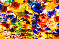 Colorful Bellagio Hotel reception hall ceiling made of beautiful flower lights, in Las Vegas Strip, Nevada