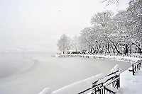 Pictured: The partially frozen over lake in Ioannina, Greece. Wednesday 11 January 2017<br /> Re: Heavy snow has affected the town of Ioannina, northern Greece
