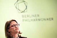 26 April 2018, Germany, Berlin: Artistic director Andrea Zietzschmann speaking at the press conference at the Berlin philharmonic orchestra regarding their program for 2018/19. Photo: Carsten Koall/dpa