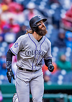 15 April 2018: Colorado Rockies outfielder Charlie Blackmon in action against the Washington Nationals at Nationals Park in Washington, DC. All MLB players wore Number 42 to commemorate the life of Jackie Robinson and to celebrate Black Heritage in pro baseball. The Rockies edged out the Nationals 6-5 to take the final game of their 4-game series. Mandatory Credit: Ed Wolfstein Photo *** RAW (NEF) Image File Available ***